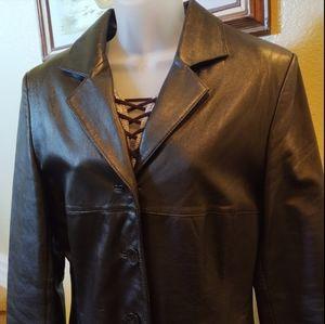 Wilsons Leather Pelle Studio Black Leather Blazer Jacket Sz M